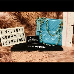 💙CHANEL😍Mini Matelasse Light Blue Lambskin Bag